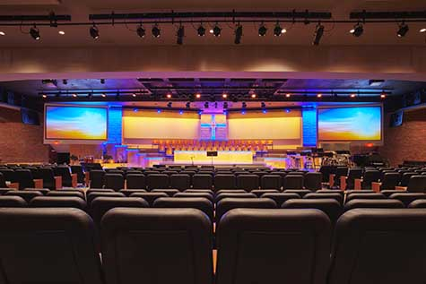 Church Stage Design with Sound, Video & Lighting Systems